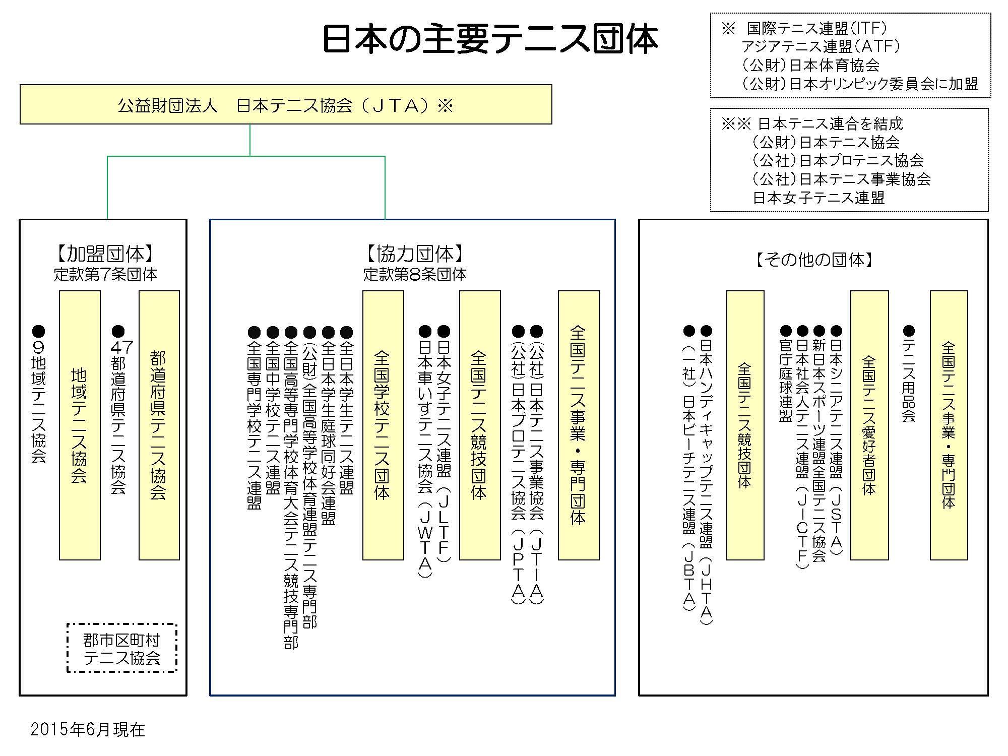 日本の主要テニス団体